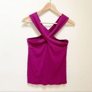 Free people purple blouse criss cross M